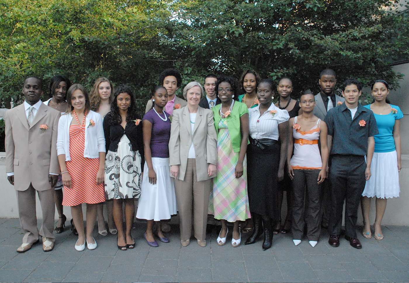 Scholars from the Class of 2007 at their Graduation Ceremony posing with former Princeton U. President Shirley M. Tilghman